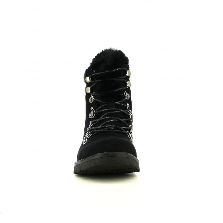 botins de taló XTI negres amb pèl, cordons i xarol - Querol online