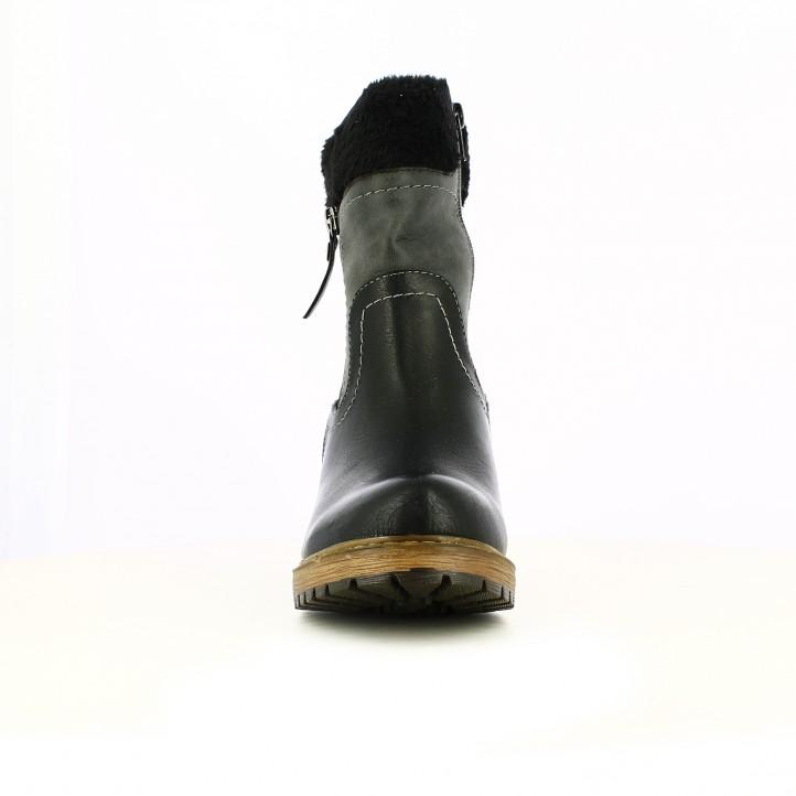 botines tacón REFRESH FOOTWEAR negros y marrones con pelo - Querol online