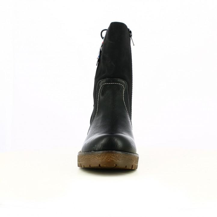 botines tacón OWEL negros con cordones en la parte trasera - Querol online
