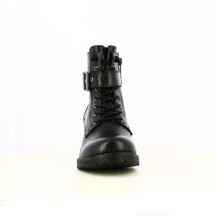 botines tacón CARMELA negros de piel con cordones y hebillas - Querol online