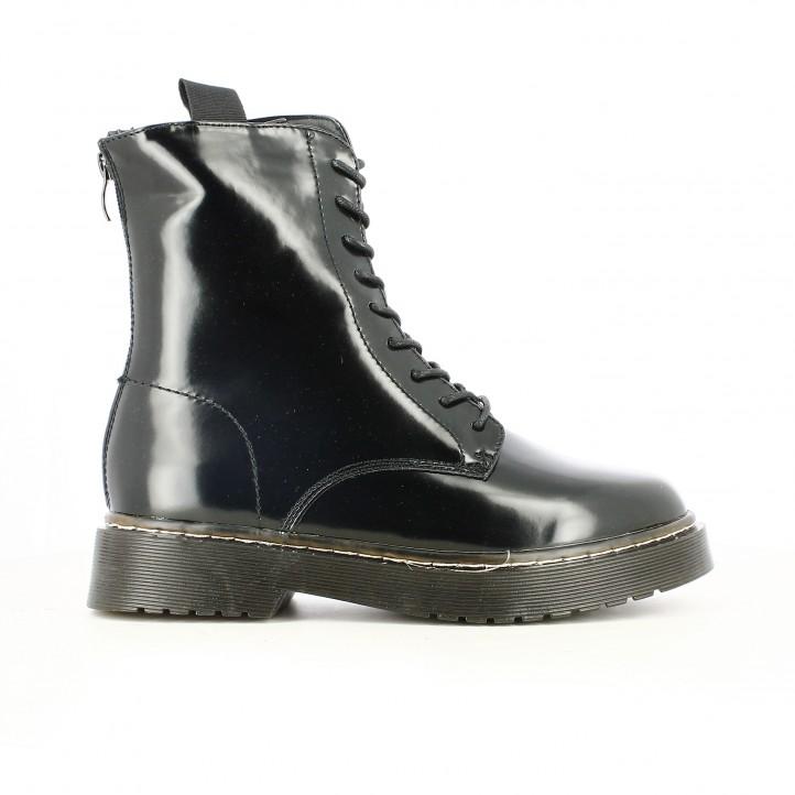 botins de taló OWEL negres amb cordons i plataforma - Querol online