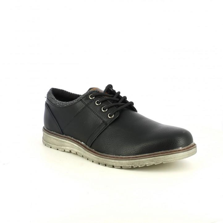 zapatos sport XTI bluchers negros sintéticos - Querol online