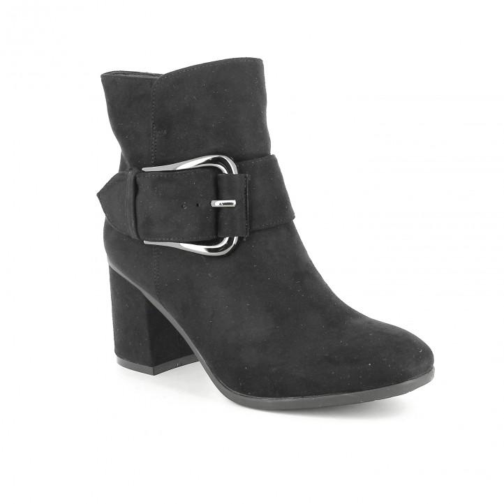 botins de taló YOU TOO negres amb sivella gegant - Querol online