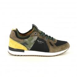 zapatillas deportivas PEPE JEANS marrones, verdes y amarillas - Querol online