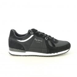 zapatillas deportivas PEPE JEANS negras de piel con suela blanca - Querol online