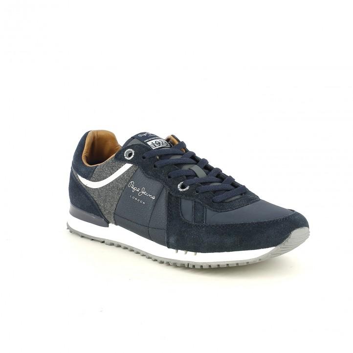 zapatillas deportivas PEPE JEANS azules y grises de piel - Querol online