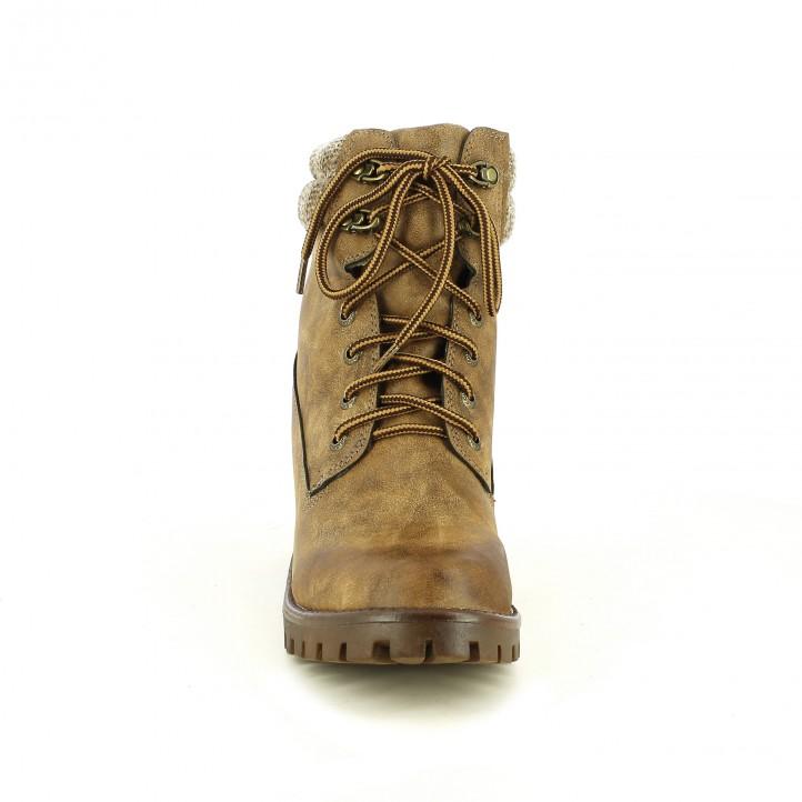 botins de taló OWEL marrons muntanya amb cordons - Querol online