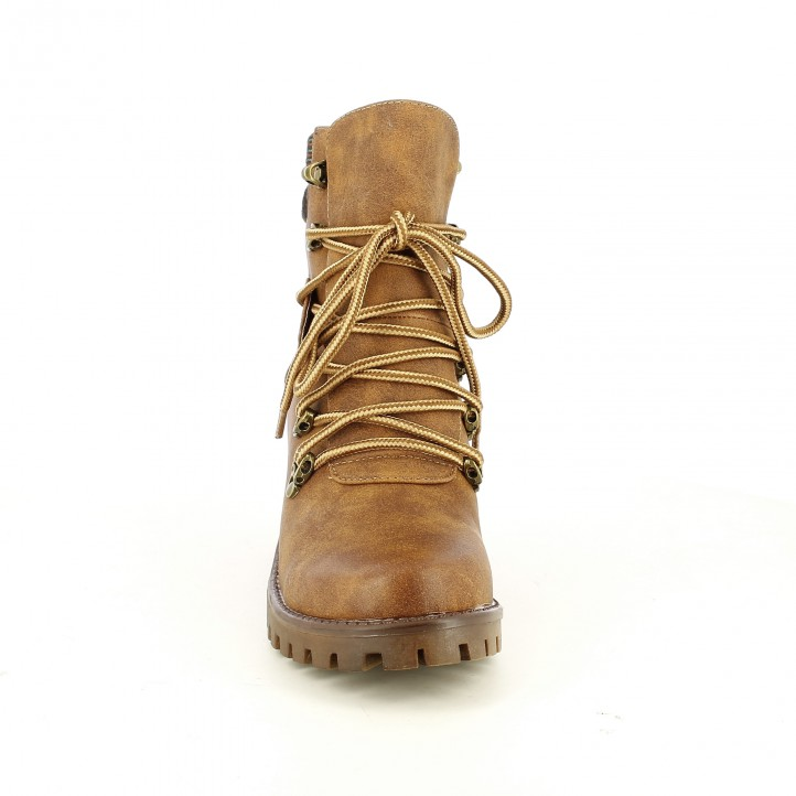 botins de taló OWEL marrons sintètics amb cordons - Querol online
