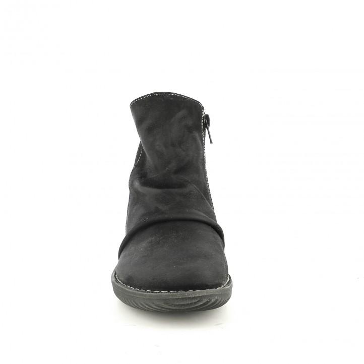 botines planos SUITE009 negros de piel con pliegues - Querol online