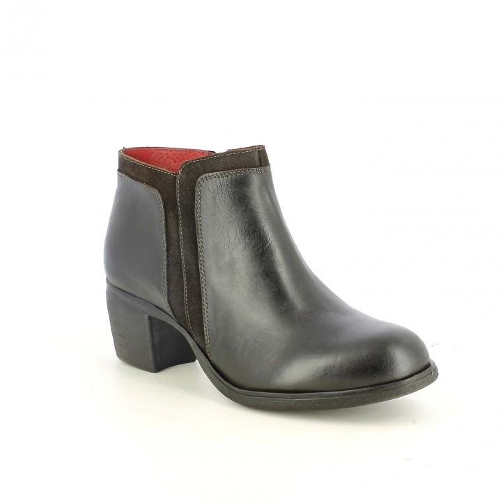 botins de taló SUITE009 negres i marrons de pell llisa i serratge - Querol online