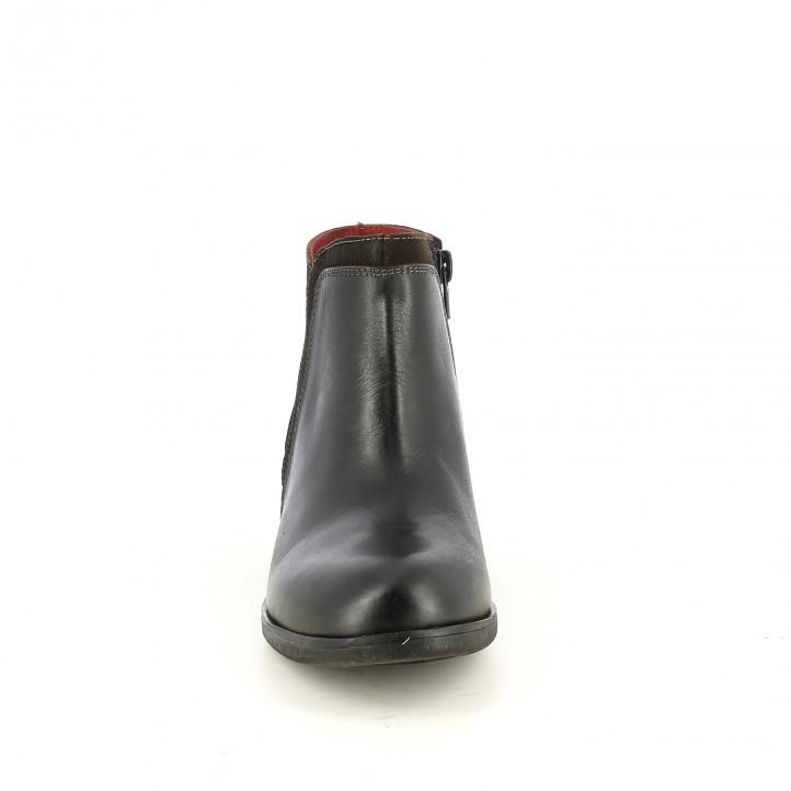 botines tacón SUITE009 negros y marrones de piel lisa y serraje - Querol online