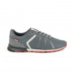 zapatos sport LEVIS grises con rayas y suela roja - Querol online