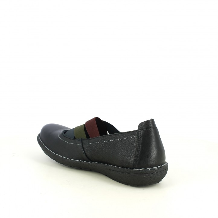 zapatos planos JUNGLA negros con gomas verdes, azules y burdeos - Querol online