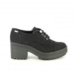 zapatos tacón Mustang bluchers negros con cordones - Querol online