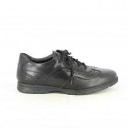 zapatos sport ZEN negros de piel con cordones - Querol online