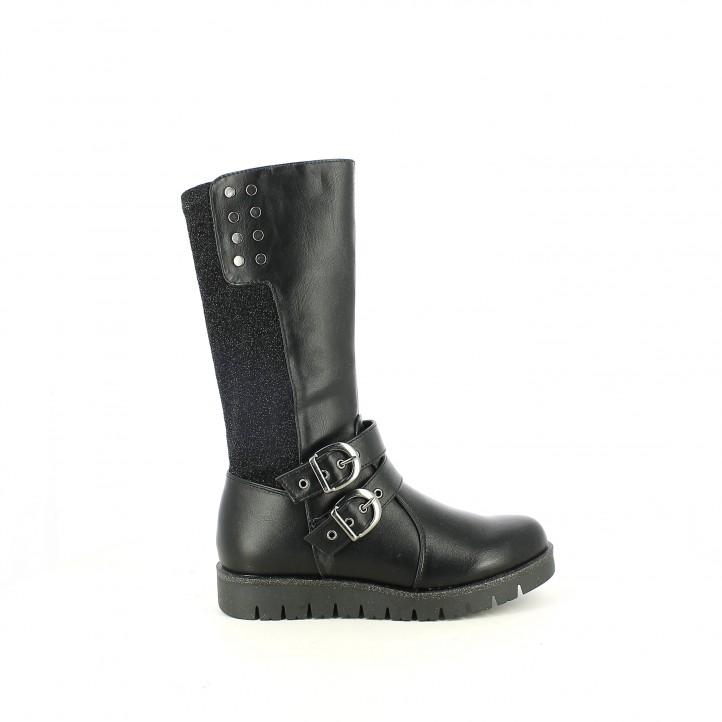 botas ASSO negras con glitter y hebillas - Querol online