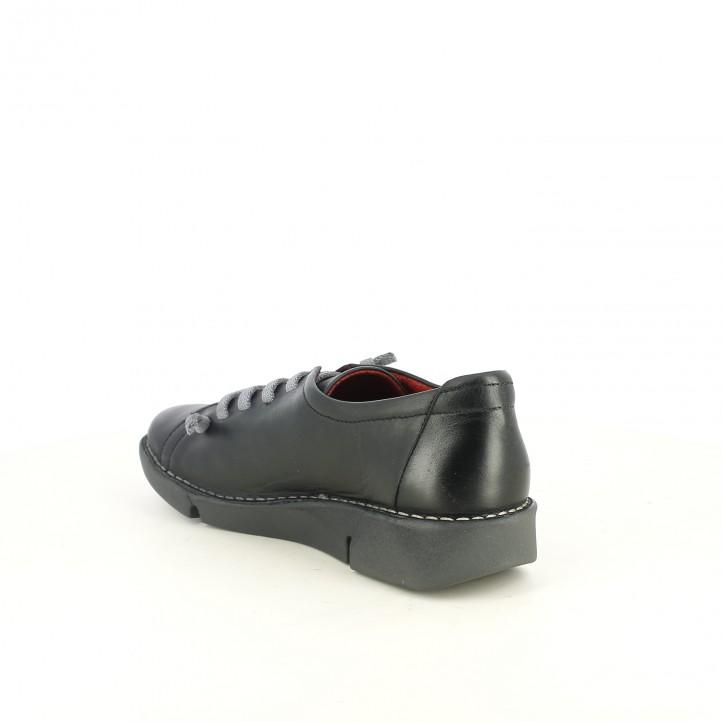 zapatos planos SUITE009 negros de piel con cordones - Querol online