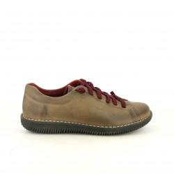 zapatos planos SUITE009 marrones de piel con cordones rojos - Querol online