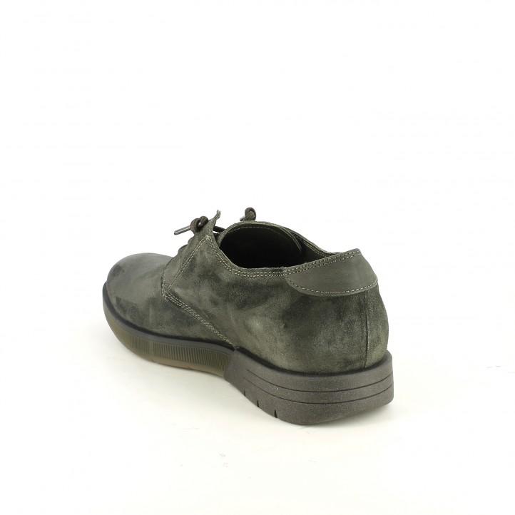 zapatos sport CETTI caquis de piel con cordones elásticos - Querol online