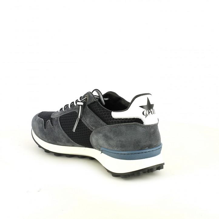 zapatos sport CETTI grises y azules de piel - Querol online