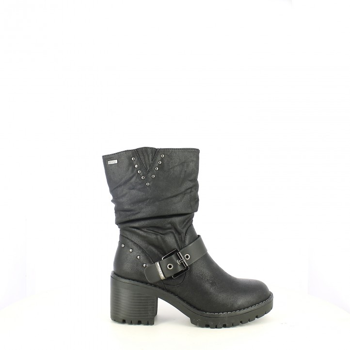 b8bcf4e08daa8 botas tacón Mustang negras de caña baja - Querol online ...