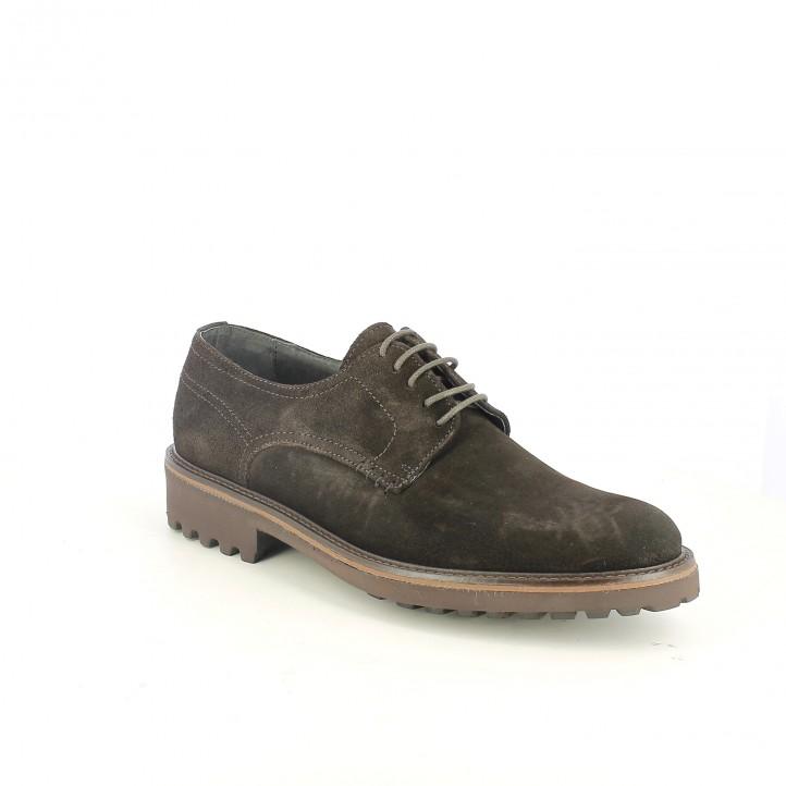 zapatos vestir LOBO bluchers marrones de serraje - Querol online