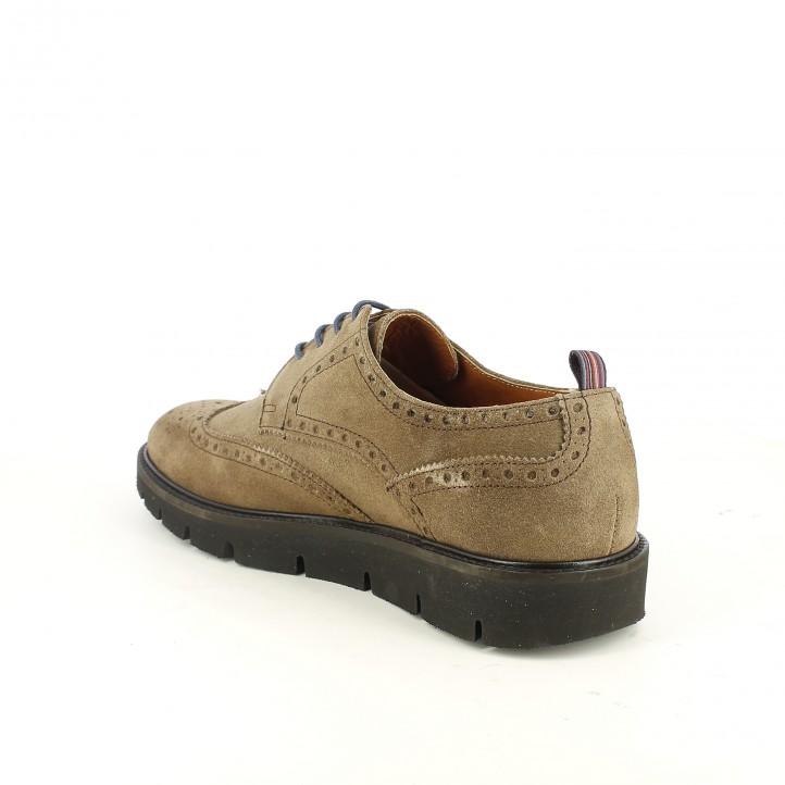 zapatos vestir LOBO bluchers marrones de serraje con brogue - Querol online