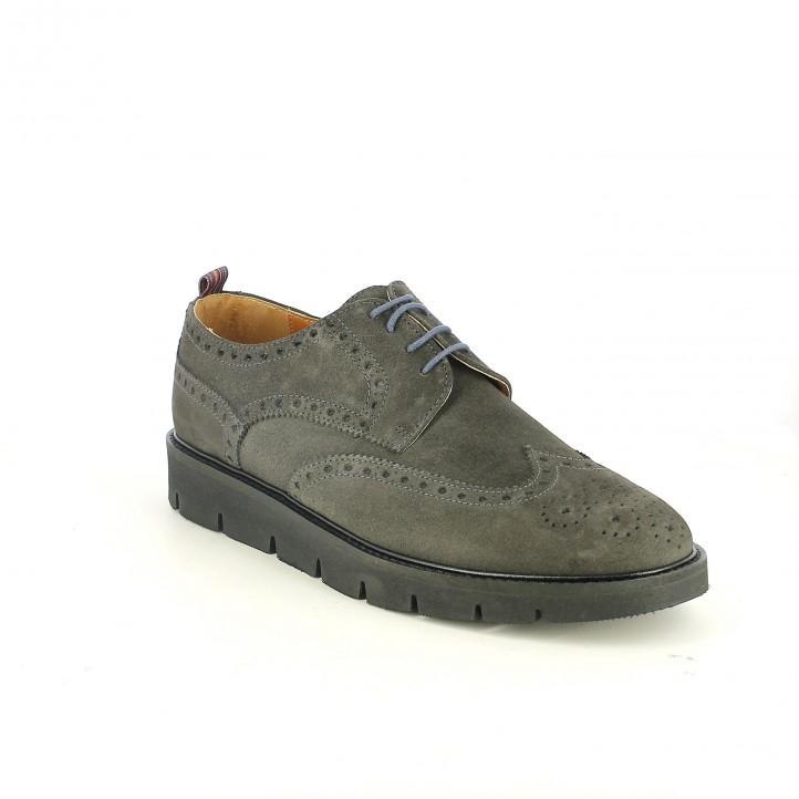 zapatos vestir LOBO bluchers grises de serraje - Querol online