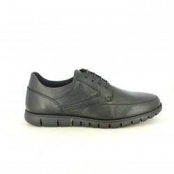sabates sport T2IN negres de pell i amb cordons - Querol online