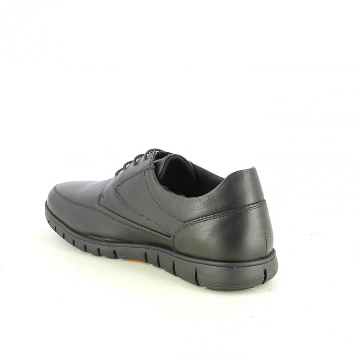 zapatos sport T2IN negros de piel y con cordones - Querol online