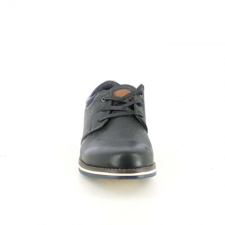 zapatos sport VICMART negros y azules de piel - Querol online