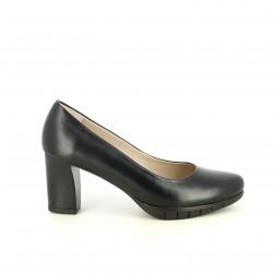 sabates de taló WONDERS negres de pell amb taló gruixut - Querol online