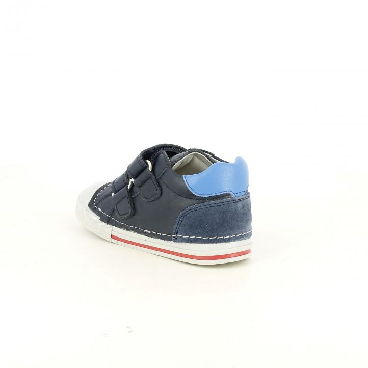 Botes PABLOSKY blaves de pell amb ratlles de colors - Querol online