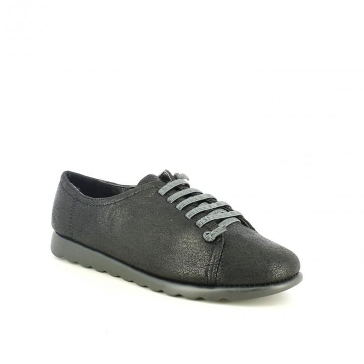 zapatos planos AMARPIES negros con cordones grises - Querol online