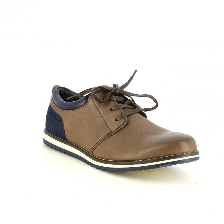 zapatos sport VICMART marrones y azules de piel - Querol online