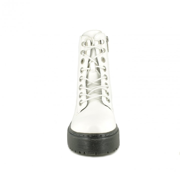 botines tacón XTI blancos con cordones - Querol online