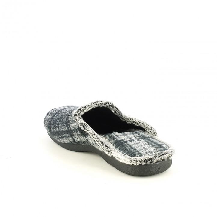 Zapatillas casa grises con cuadros garzon querol online - Zapatillas para casa ...