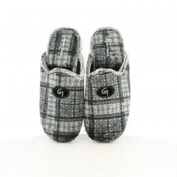 zapatillas casa GARZON grises con cuadros - Querol online