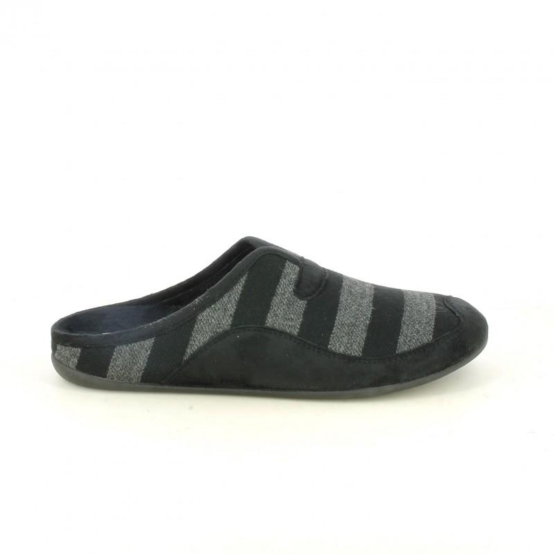 Zapatillas casa negras y grises con rayas garzon querol online - Zapatillas para casa ...