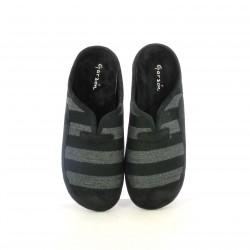 zapatillas casa GARZON negras y grises con rayas - Querol online