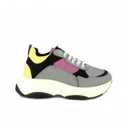 zapatillas deportivas OWEL grises, rosas y amarillas - Querol online