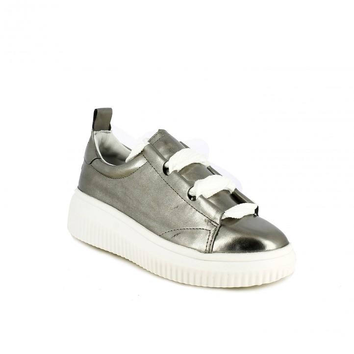 zapatillas deportivas MARIA MARE plateadas con cordones blancos - Querol online