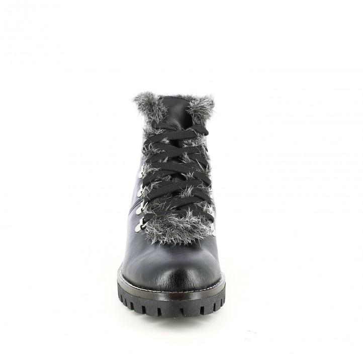 botines tacón REDLOVE negros de piel con pelo gris - Querol online