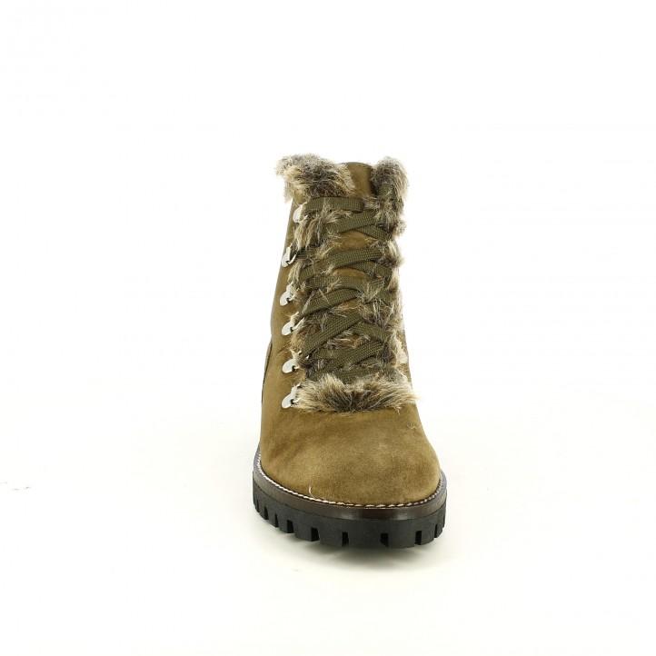 botins de taló REDLOVE marrons de pell amb pèl marró - Querol online