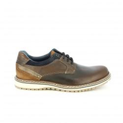 zapatos sport LOBO marrones de piel con cordones azules - Querol online