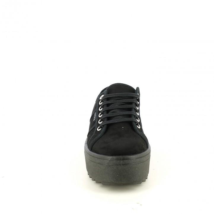 zapatillas lona VICTORIA negras con plataforma y con cordones - Querol online