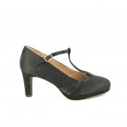 zapatos tacón MARIA MARE t-strap negras con animal print - Querol online