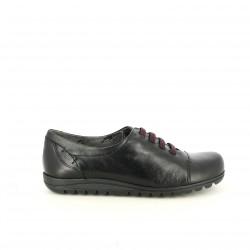 zapatos tacón FLUCHOS negros de piel con cordones lilas - Querol online