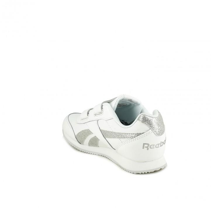 zapatillas deporte REEBOK blancas de piel con rayas plateadas - Querol online