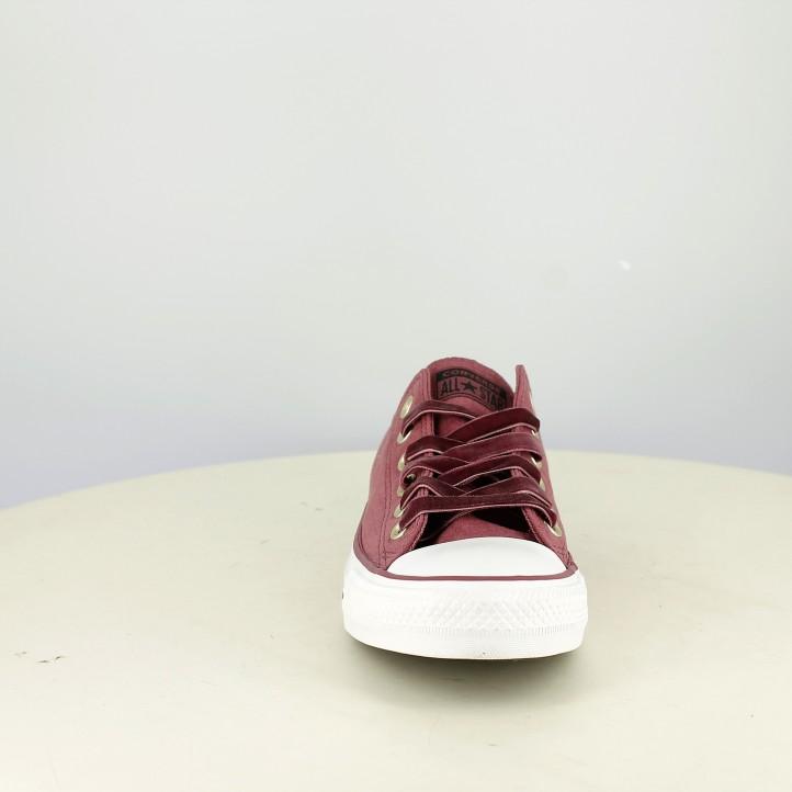 zapatillas lona CONVERSE burdeos con cordones de terciopelo - Querol online
